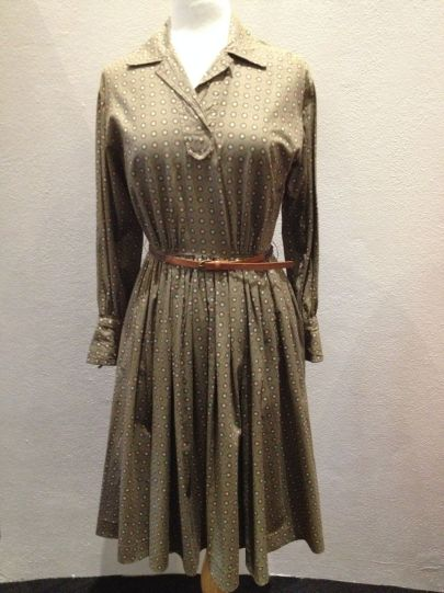 Nell Clasby - Brown with pink & green sport 'Parade' dress with plaid leather belt