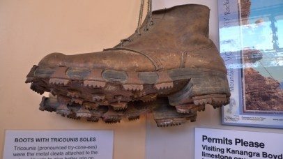 Old fashioned hiking boots with tricounis soles