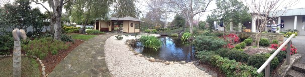 Panorama of Japanese Gardens behind Art Gallery
