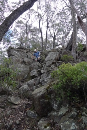 Borderline rock-scrambling on the descent from Ruined Castle