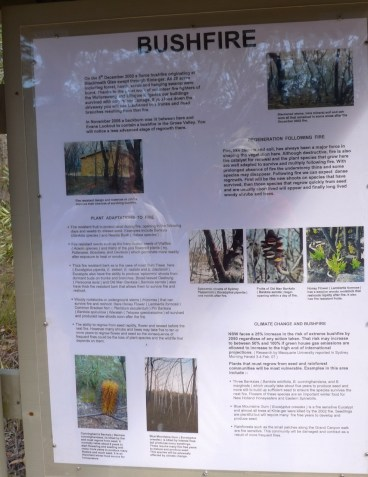 Private landholder's information board on the effects of bushfires on local habitat