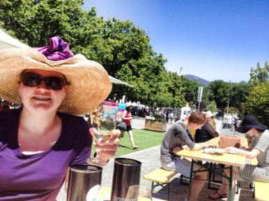 Enjoying a wine at the Taste of Tasmania
