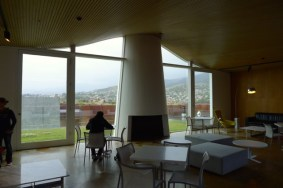 Inside MONA looking out towards Mt Wellington; this area gets crowded later