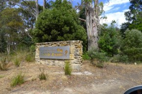 There's even fagus on the welcome sign at the entrance - Mt Field National Park - A Park for all seasons