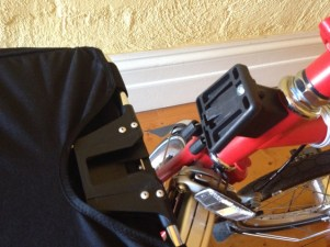 The back of a Brompton bag that slots over the block at the front of the bike