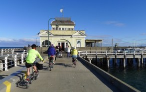 Arriving at the St Kilda Pavilion at the end of the pier