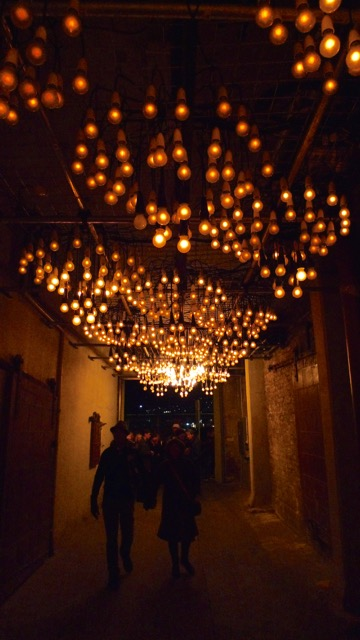 """""""Angry Electrons"""" by Jason James where the lights pulsed as people moved beneath"""