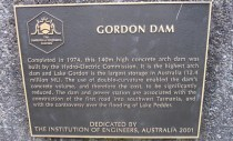 Dedication plaque at the Gordon Dam
