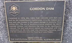 Dedication plaque at the Gordon Dam