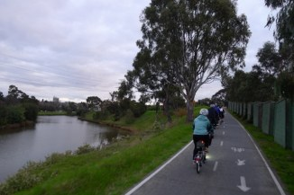 Riding single-file along the Main Yarra Trail
