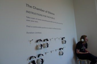 The Chamber of Silence - Instructions for the Public. Wear Earmuffs. Be Still. Be silent.