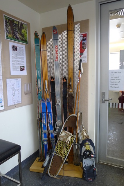 Old school snowshoes and skis with Stephen's MSR snowshoes (grey) for comparison