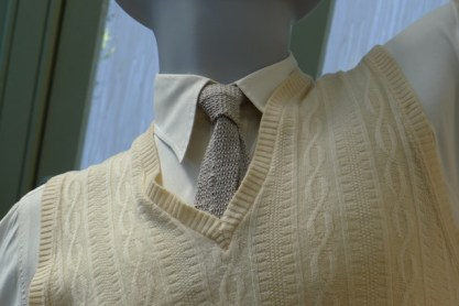 Detail of DI Jack Robinson's wiollen vest and tie