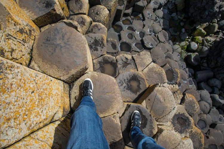 Climbing up the Natural Stone Columns of the Giants Causeway