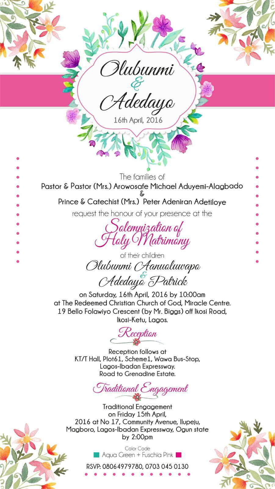 Dayo Adetiloye Wedding Invitation