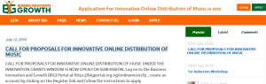 CALL FOR PROPOSALS FOR INNOVATIVE ONLINE DISTRIBUTION OF MUSIC