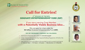 Apply for 2nd Edition Bank of Industry N2 Million Loan for NYSC Youth Corp Members.
