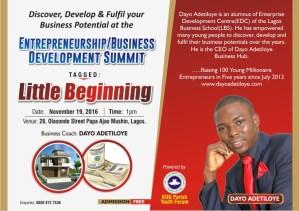 Dayo Adetiloye Speaking at RCCG KOG Business Summit 2016