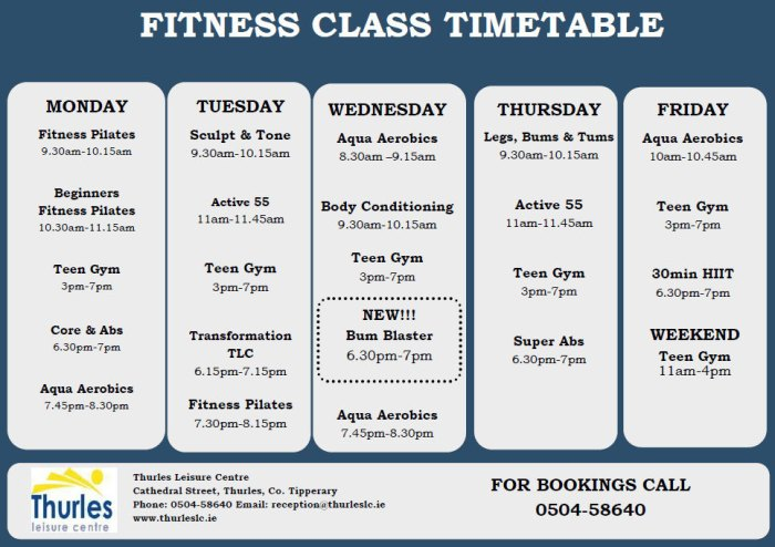 thurles leisure centre timetable