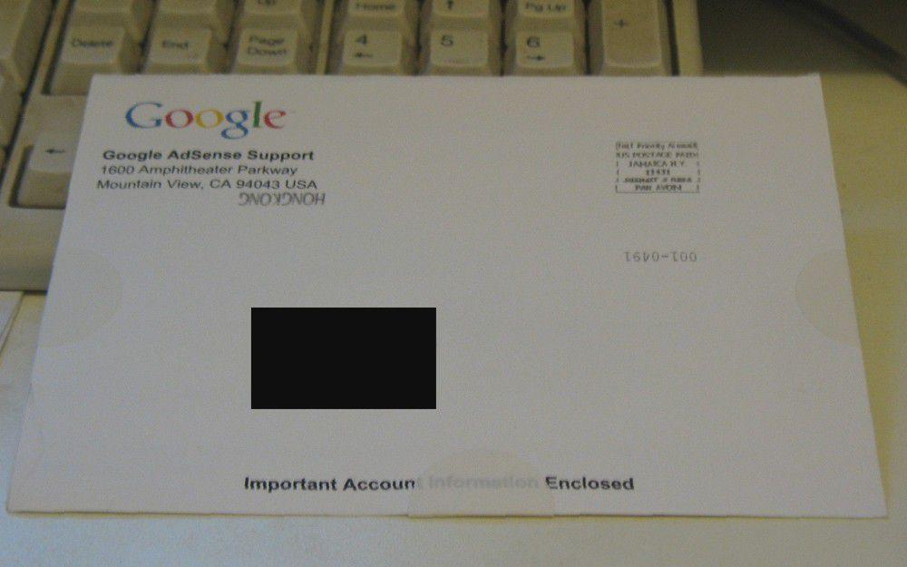 Google AdSense的信件