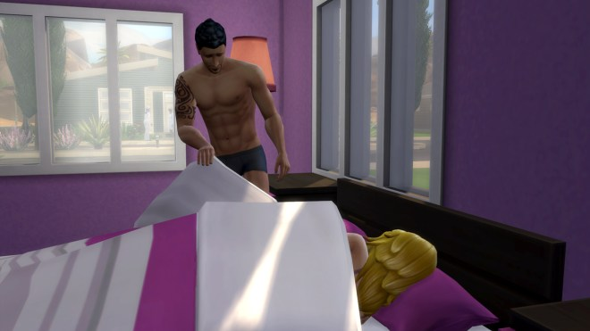 Don Lothario discreetly gets out of bed after WooHooing Babs L'Amour.