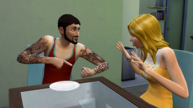 Andre DaSilva shows off his tattoos to Babs L'Amour.