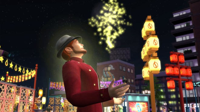 Randall Wood watching the fireworks display at the Humour and Hijinks Festival.