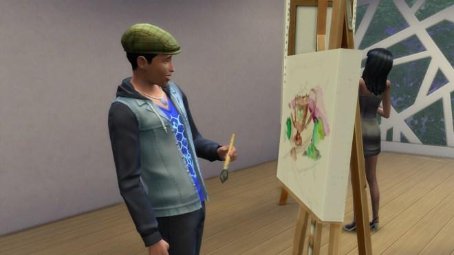 Ollie Purdue painting at Casbah Gallery in San Myshuno.