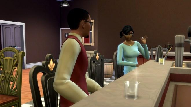 Gavin Richards meets Elaine McCann at Patchy's and they flirt.