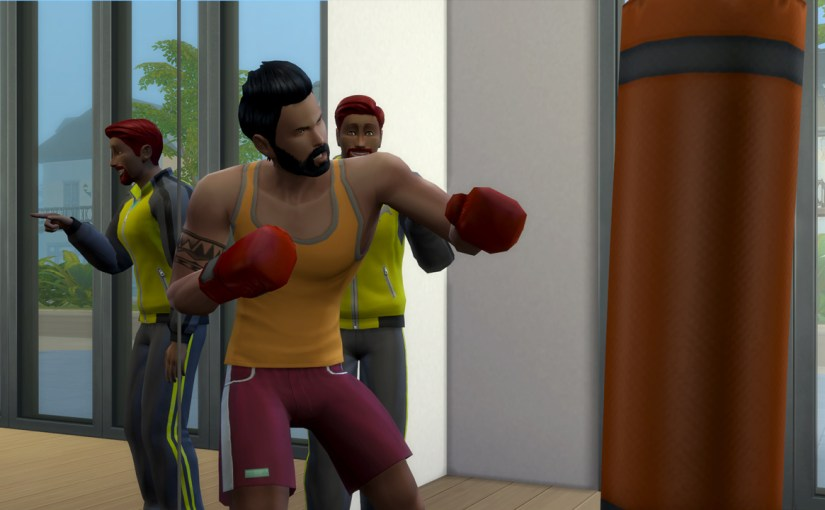 Karim does a boxing workout with gym trainer Pedro Cabello at Movers and Shakers in Willow Creek.