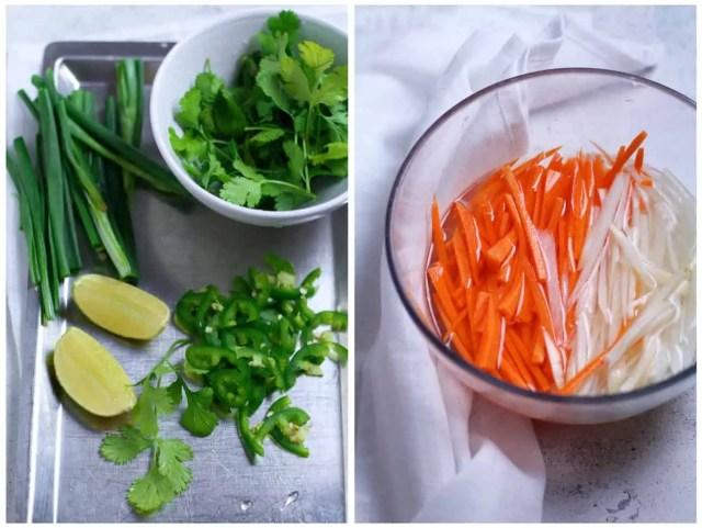 Báhn Mì pickled vegetables and herbs