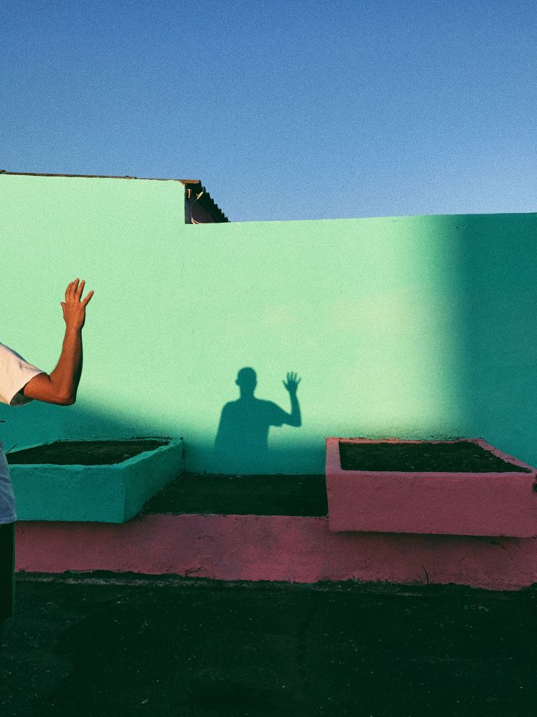 person greeting a shadow
