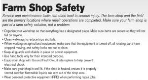 National Farm & Ranch Safety and Health Week - Farm Shop Safety