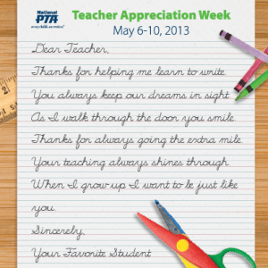 PTA Teacher Appreciation Week - ideas for teacher appreciation week?