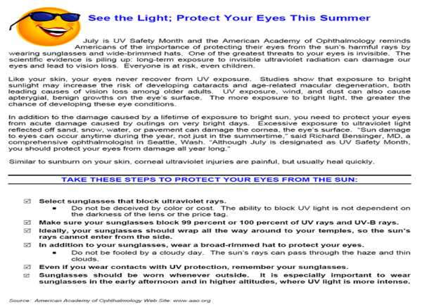 July UV Safety Awareness Month