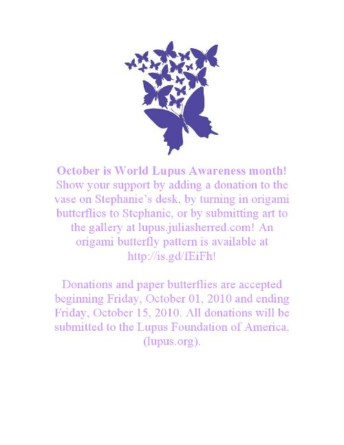 Is anybody aware that October is Lupas Awareness Month?