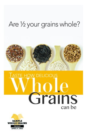 Whole Grain Sampling Day - sample meal plan?