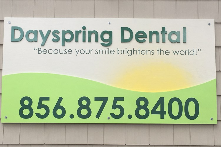 Our office, Dayspring Dental exterior wall sign