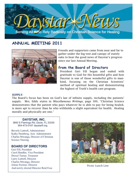 Daystar Annual Meeting Newsletter 2011