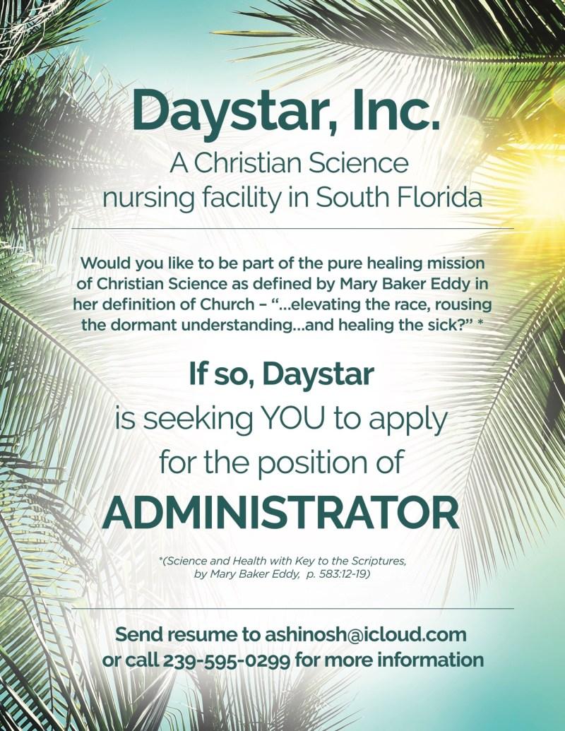 Daystar Administrator opening
