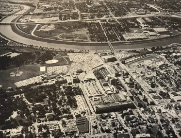 Aerial Picture of Dayton which shows landmarks such as the NCR plant, Route 75, Brown Street, the University of Dayton, and the Fairgrounds