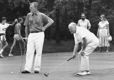 Bob Hope and vice president George H.W. Bush June 9, 1985 at the Bogie Busters Golf Tournament.