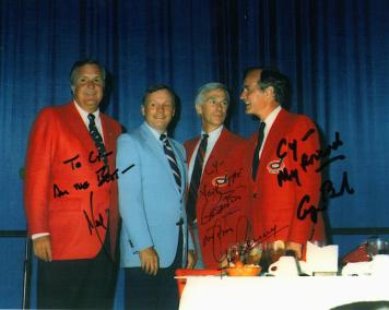 Image of Cy Laughter, Neil Armstrong, Gene Cernan, George Bush at the Bogie Busters Golf Tournament in Dayton, 1987.