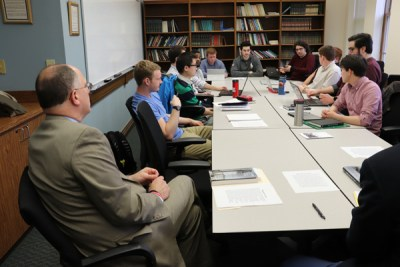 Image of the Spring 2018 History Capstone course during discussion with University President Dr. Spina