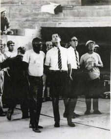 This image shows Don Donoher standing on the floor of the Arena in mid-1969 as workers raced to complete the building.