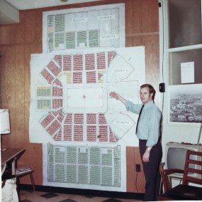 Frericks and his assistants placed a diagram of the arena on his office wall and each time a customer bought a season ticket they put a push-pin into the spot.