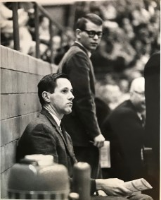 Photo taken on the night Tom Blackburn entered the hospital and then Assistant Don Donoher filled-in on the sidelines