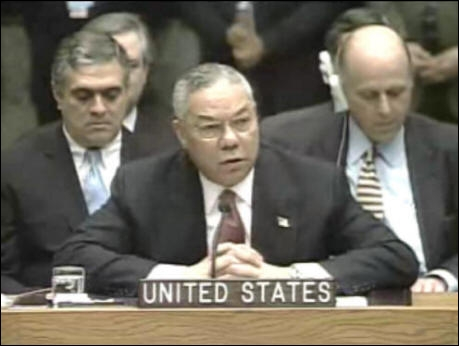 Colon Powell at the UN, February 5, 2003, makes the case for war with Iraq.