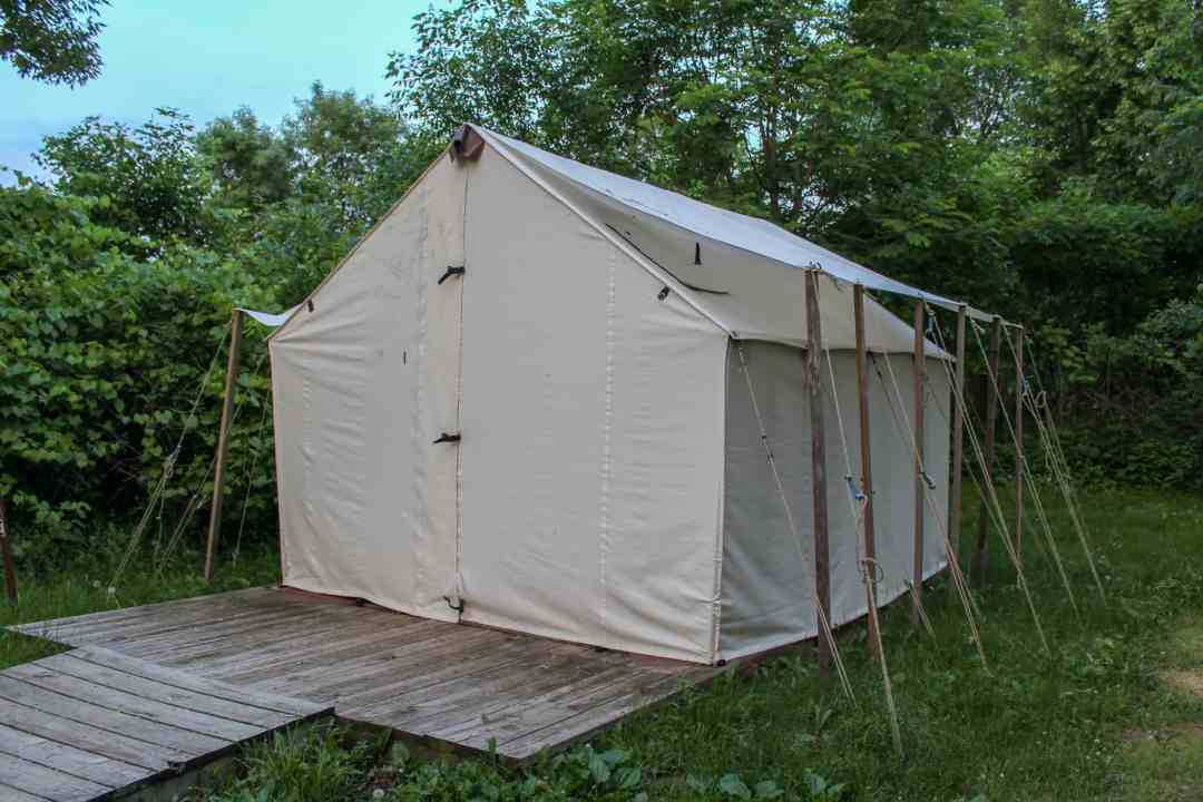 Wall tent at Myre-Big Island State Park