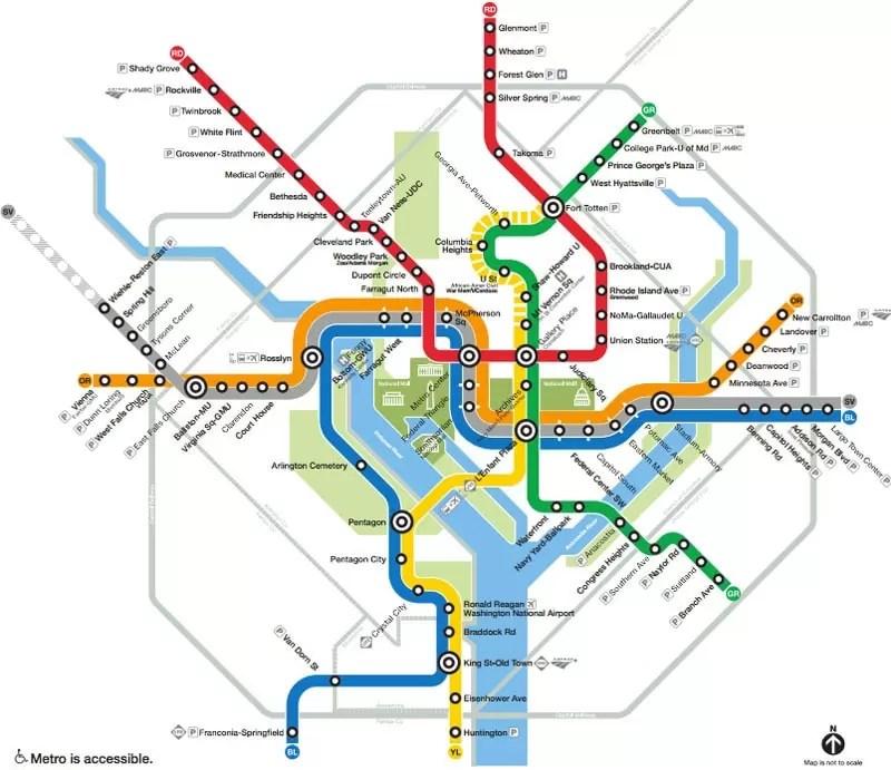 The metro map of Washington DC.